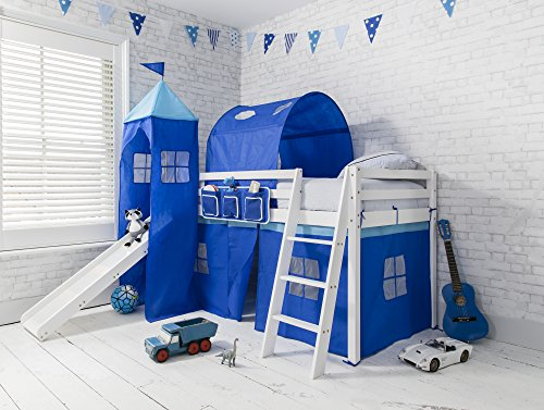 Noa and Nani Cabin Bed midsleeper Bunk kids bed with Slide + Blue Tent, Tower & Tunnel