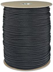 1000' Foot Spool Black Parachute Cord 7-Strand Core 550 Cord by Paracord Pl