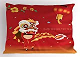 Ambesonne Chinese New Year Pillow Sham, Little Boy Performing Lion Dance with The Costume Flowering Branch Lantern, Decorative Standard Size Printed Pillowcase, 26 X 20 inches, Multicolor