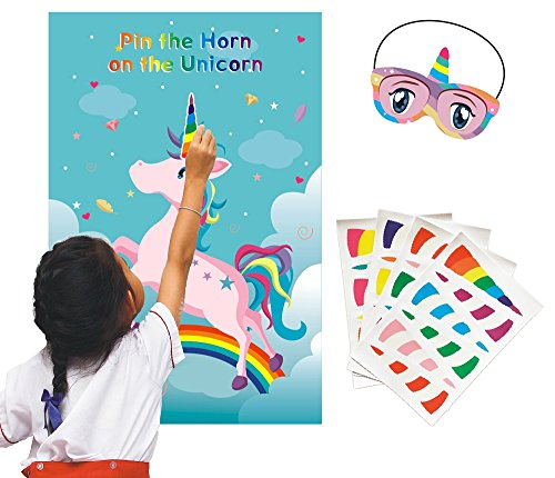 ADJOY Pin The Horn on The Unicorn Birthday Party Favor Games Kids Party Supplies Unicorn Gifts for Girls Game Include a Large Poster 24 Reusable Sticker Horns Good for Big Parties -