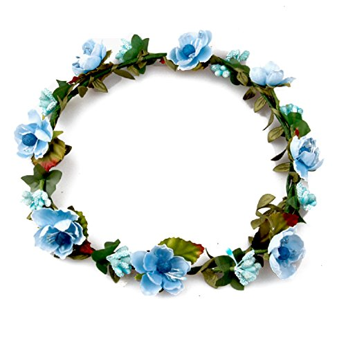 DreamLily Women's Flower Festival Wedding Hair Wreath Boho Floral Headband BC09(Blue)