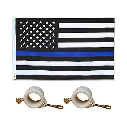 Embroidered Thin Blue Line Flag - 3X5 Foot - US American Pol