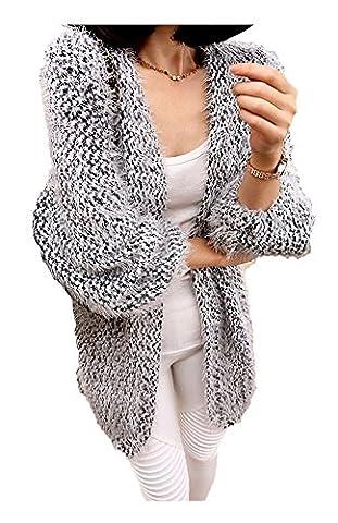 ARJOSA Women's Faux Fur Fleece Open Front Cardigan Sweater Knitwear Loose Top (S, #2 Ash Grey)
