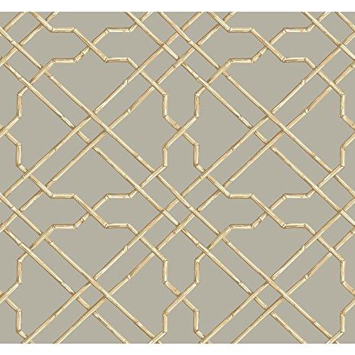 - York Wallcoverings Tropics Bamboo Trellis Removable Wallpaper, Grey, Beige, Tan, White
