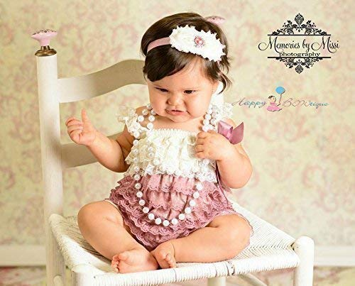 a5dff089476a Amazon.com  2pcs Dusty Ivory Rose Petti Lace Romper Set w Extra ...