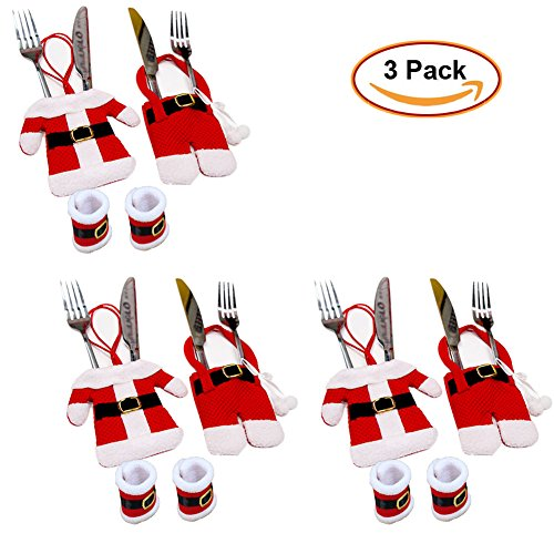Set of 3 Santa Suit Christmas Cutlery Silverware Holder Pocket Knifes Forks Tableware Bags & Napkin Rings Holders xmas Dinner Table Decoration (Christmas Silverware Holders & Napkin Rings Set) (Desserts Non Christmas Traditional)