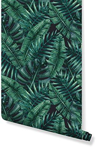 costacover–一時的な自己粘着リムーバブル壁紙–水彩Tropical Palm Leaves Illustration–カスタムサイズAvailable 24'' x 120'' マルチカラー CC049