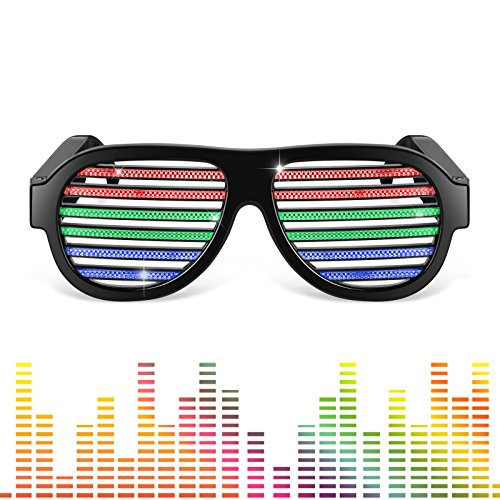 LED Shades Glasses, iVAPO Luminous Glasses Sound & Voice Activated Glasses LED Flashing Shutter Shades with USB Charger for EDM Concerts Party Halloween-Black (Led Shutter Shades)