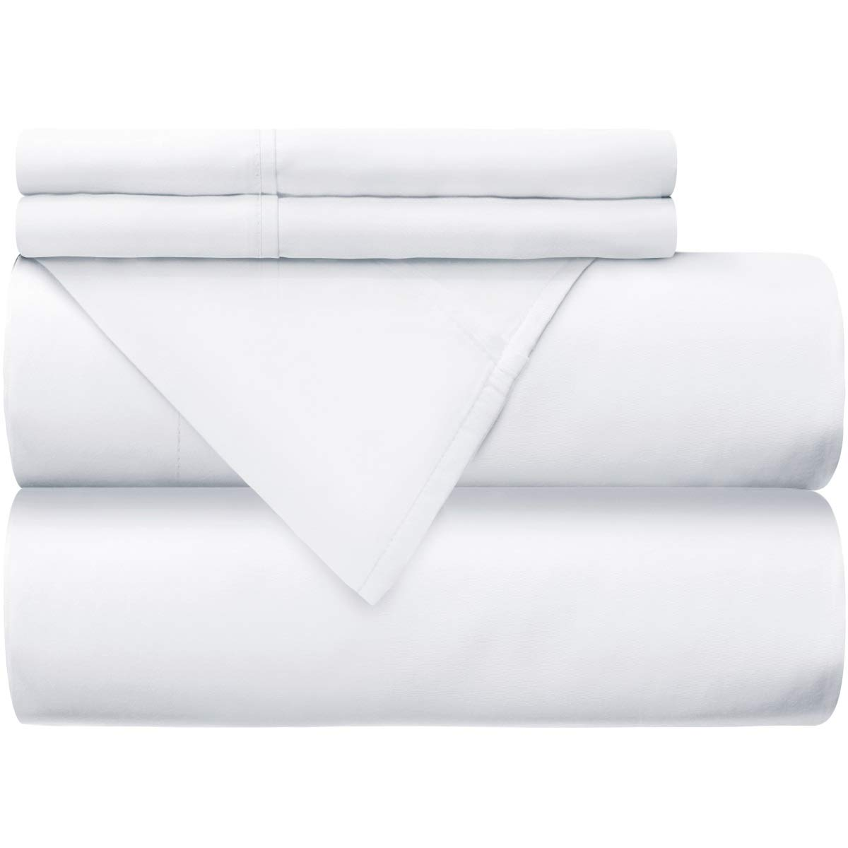 Mellanni 100% Cotton Bed Sheet Set - 300 Thread Count Percale - Deep Pocket - Quality Luxury Bedding - 4 Piece (King, White)