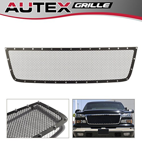 (AUTEX Black Mesh Upper Grill Grille Insert Stainless Steel Rivet Style CL6576H Compatible with 05-06 Chevy Silverado 1500 HD / 2500 HD / 3500 HD / 07 Classic Style / 06 1500)