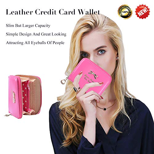Leather Credit Card Wallet With Zipper Travel Wallet Credit Card Holder, Cute Wallets For Girls Women (magenta)
