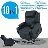Mecor Electric Power Lift Leather Recliner Chair for Elderly with Remote Control,Heavy Duty Reinforced Reclining Mechanism,Living Room Lounge Furniture Chair (Black)
