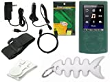 TPA- Premium Sony Walkman Accessories Combo Bundle Pack: Green Durable Flexible Soft Silicone Skin Case, Car Charger, Wall / Travel / AC Adapter Charger, 2in1 Sync USB Cable, Adjustable Armband, Belt Clip, Fishbone Style Keychain and a Screen Protector /