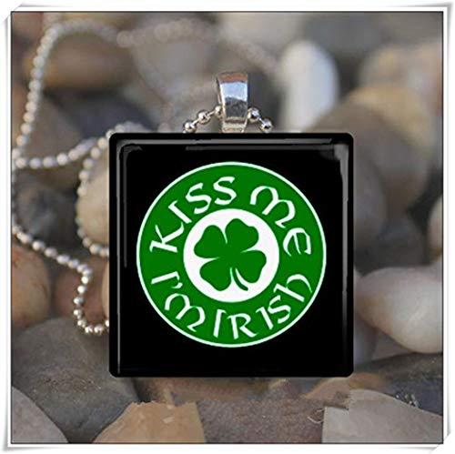 (Sunshine KISS ME I'm Irish Patrick's Day, Irish Love Four Leaf Clover, Glass Tile Pendant Necklace)