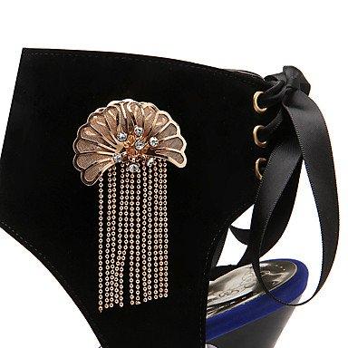 LFNLYX Sandalias de mujer zapatos Primavera Verano Otoño Club Gladiator comodidad Suede parte & vestido de noche casual Stiletto HeelRhinestone imitación Black