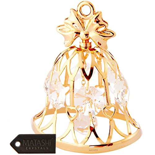 24K Gold Plated Wedding Bell Ornament Made with Genuine Matashi Crystals - Bell Ornament Gold