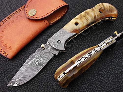 (FB LEATHER CRAFTS Handmade Damascus Steel Pocket Folding Knife/Pocket Folder Knife AA-15247, 15248 and 15249 (Natural Mountain Goat Horn))
