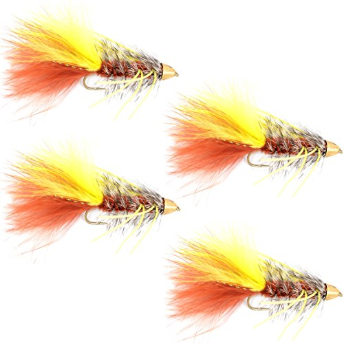 (Cone Head JJ Special Bugger Fly Fishing Flies - Set of 4 Bass Big Trout Streamers Fly Fishing Fly - 4 Flies Size 4)
