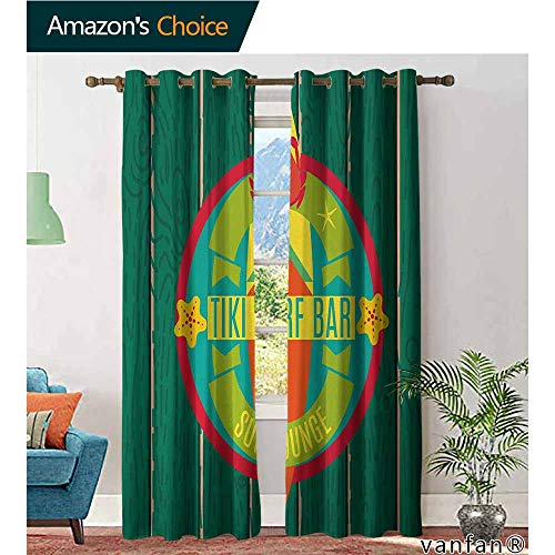 LQQBSTORAGE Tiki Bar,Blackout Curtain Panels Window Draperies,Tiki Surf Bar Sun Lounge Holiday Vacation Theme Surfboard Crab Starfishes Print,for Bedroom,Kitchen,Living Room,Multicolor (Regent Lounge)