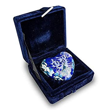 OneWorld Memorials Cloisonne Floral Heart Bronze Keepsake Urns – Extra Small – Holds Up to 3 Cubic Inches of Ashes – Cloisonne Blue Cremation Urn for Ashes