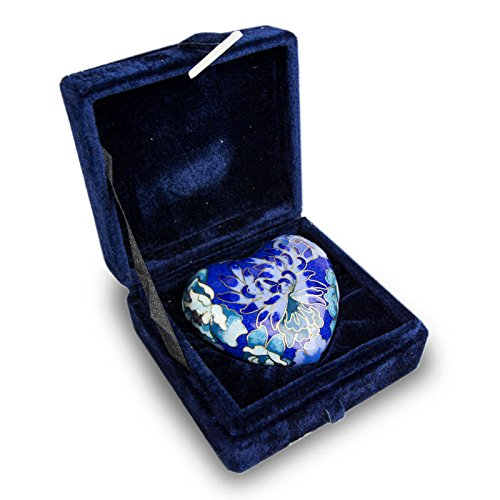 - OneWorld Memorials Cloisonne Floral Heart Bronze Keepsake Urns - Extra Small - Holds Up to 3 Cubic Inches of Ashes - Cloisonne Blue Cremation Urn for Ashes