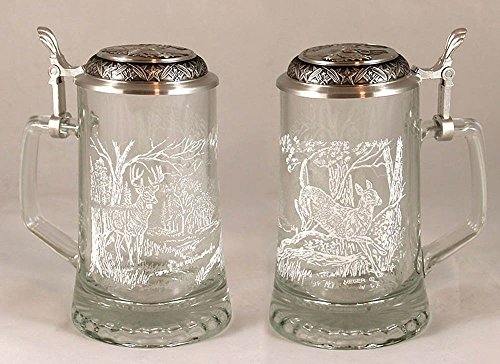 JAMES MEGER GLASS WHITE TAIL DEER STEIN, Etched German Glass Beer Stein w/ Pewter Lid, Made in Germany ()