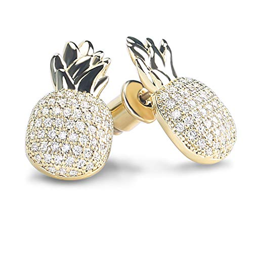 Crystal Pineapple Stud Earrings Hypoallergenic Gift Jewelry for Women Girls with Free Gift Box (14K Gold)