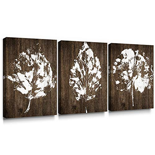 SUMGAR Canvas Wall Art Bedroom Rustic Decor 3 Piece Framed Paintings White Pictures Brown Leaf Prints Artwork,12×16 inch