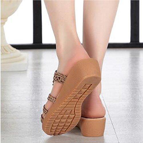 Tossut Boheemi Toivottavasti Mukavat Litteä Luistamaton Khaki Naisten Kengät Nahka Kiilat Kudottu Ranta Sandaalit fHFrCWHPq