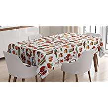 Christmas Tablecloth by Ambesonne, Traditional Celebratory Icons Rabbits Santa Claus Pine Cones Boxes Candles, Dining Room Kitchen Rectangular Table Cover, 60 W X 84 L Inches, Red Green Orange