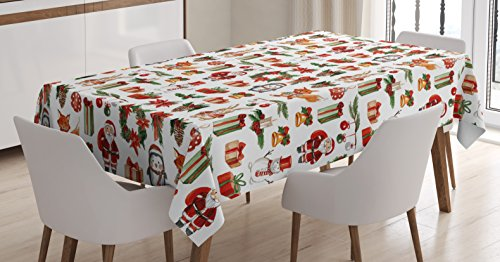 Santa Claus Cone - Ambesonne Christmas Tablecloth, Traditional Celebratory Rabbits Santa Claus Pine Cones Boxes Candles, Dining Room Kitchen Rectangular Table Cover, 60