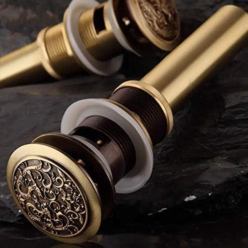 フロアドレン アンティーク真鍮中国のドラゴンのスタイル浴室の洗面器の廃棄物ポップアップ廃バニティ容器シンクの排水 排水用皿 (色 : Brass, Size : 220x66mm)