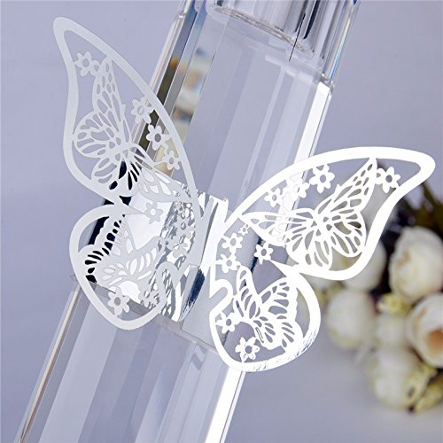 (Set of 50 Butterfly laser cut paper napkin Rings Holders Party Wedding Favors for bodas Table Decoration (Silver))