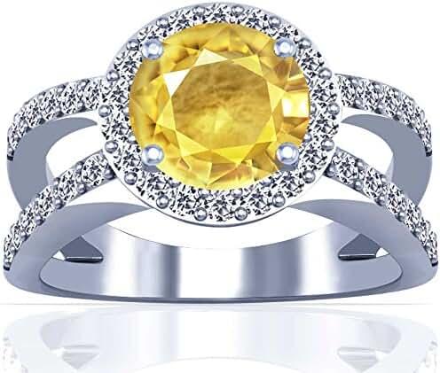 Platinum Round Cut Yellow Sapphire Ring With Sidestones