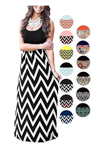 LIYOHON Womens Summer Striped Print Loose Maxi Dress Contrast Sleeveless Tank Top Floral Print Long Maxi Dresses for Women (XX-Large, Black-a)