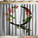 warmfamily Letter Q Indoor Outdoor Curtain Q Letter Surrounded with Pinkish Quince Flowers and Buds Abstract Spring Inspired W108 x L108 Multicolor