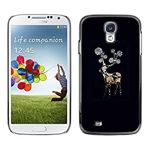 Paccase / SLIM PC / Aliminium Casa Carcasa Funda Case Cover para - Black Night Flower Gerbera - Samsung Galaxy S4 I9500
