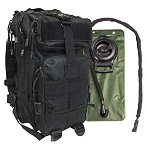 Small Military Tactical Bug Out Go Bag Backpack -2.5 Liter Hydration Water Bladder System Included by Monkey Paks (Black)