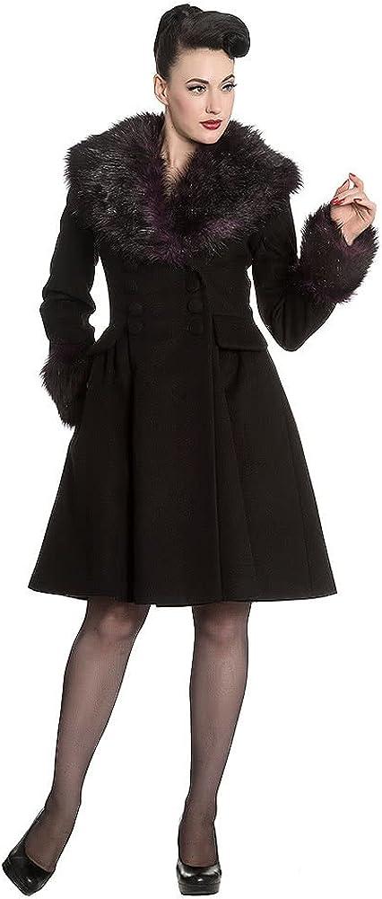 TALLA S. Hell Bunny Rock Noir Coat Abrigo de Invierno Negro-Verde