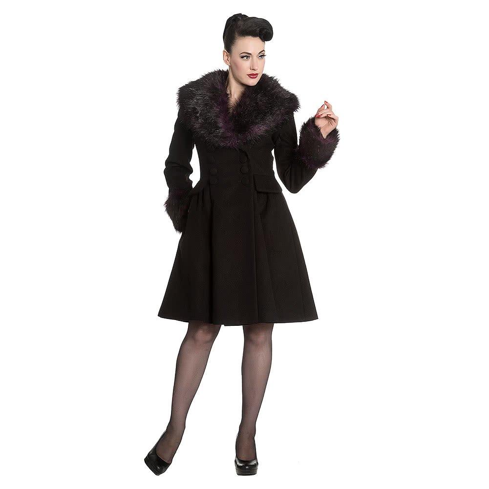 Hell Bunny Rock Noir Coat Abrigo de Invierno Negro-Verde