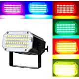 Mini Flash Strobe Lights 24/36/48LEDs Super Bright LED Stage Lighting with Sound Activated and Speed Control For Holiday Party Halloween Christmas Birthday Celebration Ballroom (48LEDs RGB, Black)