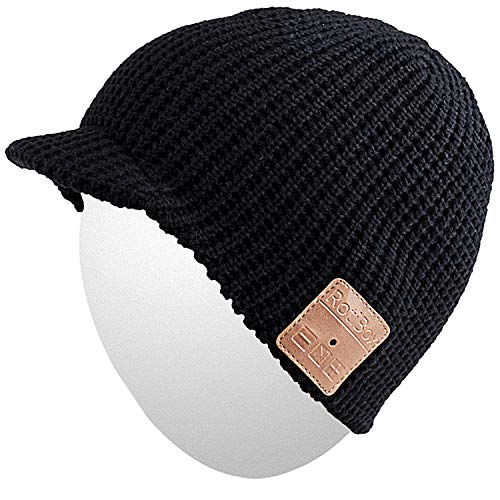 Qshell Mens Womens Stylish Bluetooth Beanie Hat Cap with Wireless Bluetooth Headphone Headset Earphone Music Audio Hands-Free Phone Call for Winter Sports Fitness Exercise Workout Lifestyle - Black