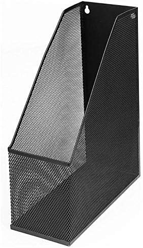 AGWa Aktenregale/Aktenhalter, Mesh Luxury Magazine Rack, extra breite, wandmontierte Stahlmagazin-Rack-Datei (1, schwarz)
