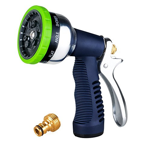 Garden Hose Nozzle, 9-Way Heavy Duty Spray Gun, Rear Trigger Design Hose Spray Nozzle, Anti-Slip Design, Bigger Nozzle Area Upgraded, Perfect for Watering Plants, Cleaning, Car Wash and Showing Pets