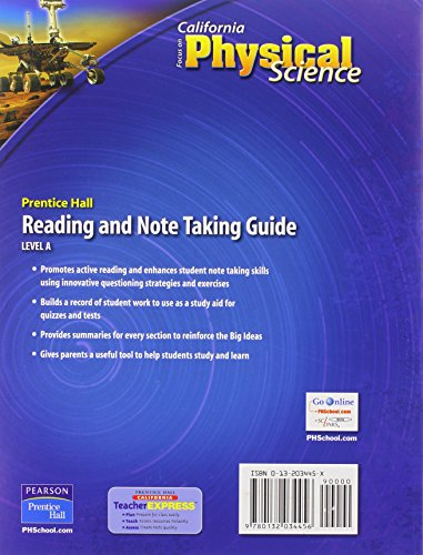 Focus On California Physical Science Reading And Note Taking