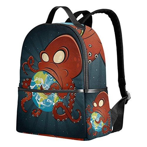 DEYYA Giant Monster Octopus Attacks Earth Kids Backpack Rucksack Children Lightweight School Bags Bookbag