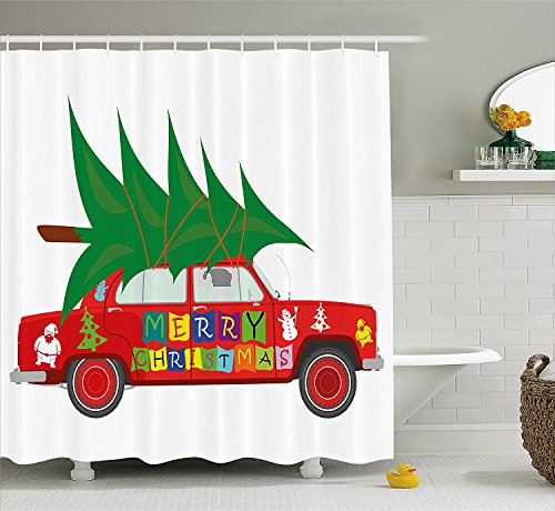 Christmas Shower Curtain Set Red Vintage Car with Xmas Tree Merry Christmas Quote and Santa Snowman Elf Fabric Bathroom Decor with Hooks Red Green (Ebay Elf Costume)
