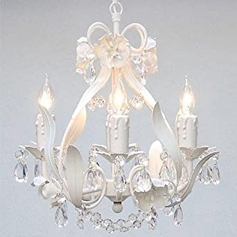 White Wrought Iron Floral Chandelier Crystal Flower Chandeliers Lighting H15 X W11 – Perfect for Kids and Girls Bedrooms