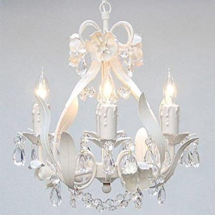 White Wrought Iron Floral Chandelier Crystal Flower Chandeliers ...