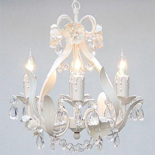 White Wrought Iron Floral Chandelier Crystal Flower Chandeliers Lighting H15 X W11 - Perfect for Kids and Girls Bedrooms!